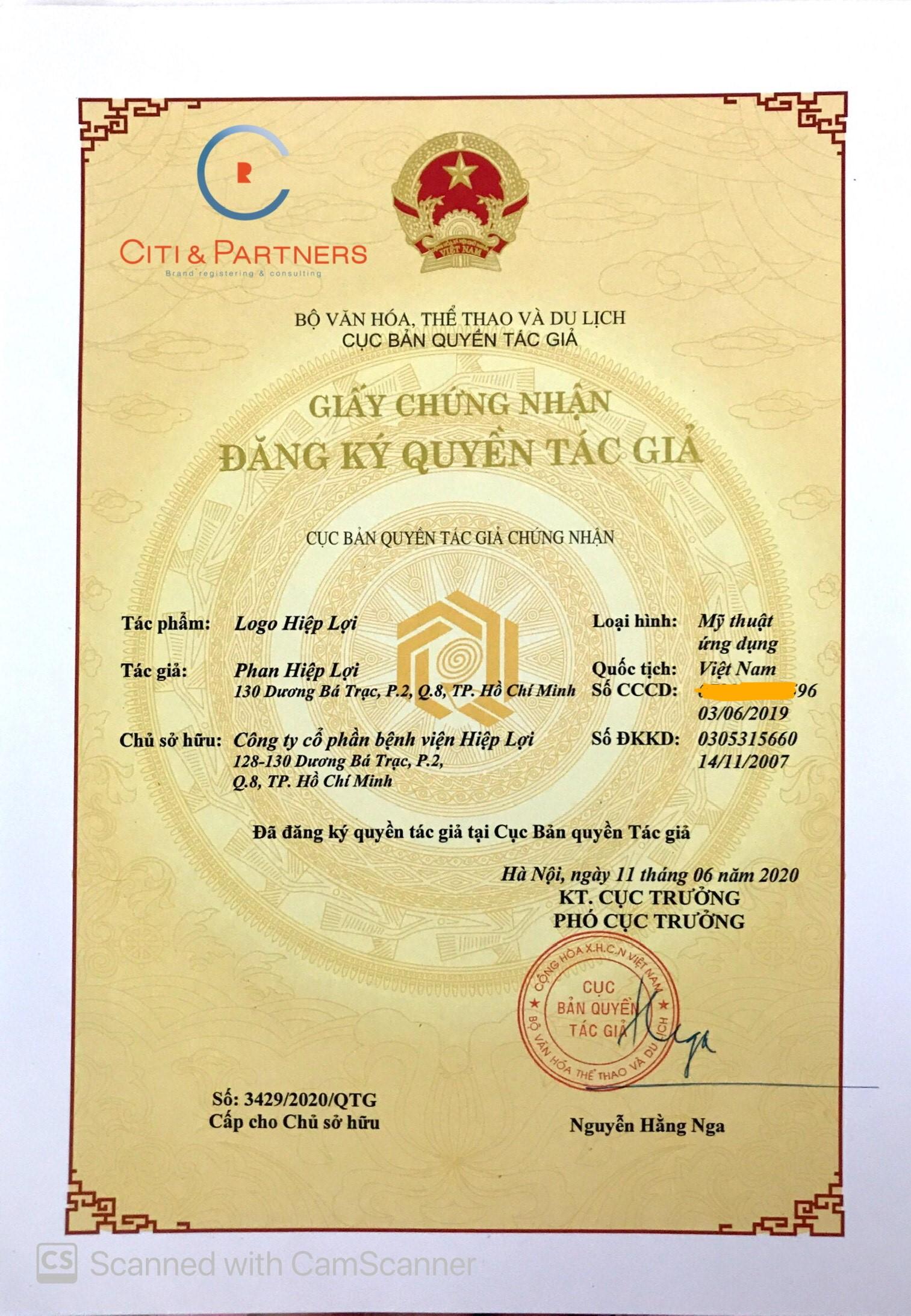 thẩm mỹ viện Hiệp Lợi đăng ký bảo hộ logo