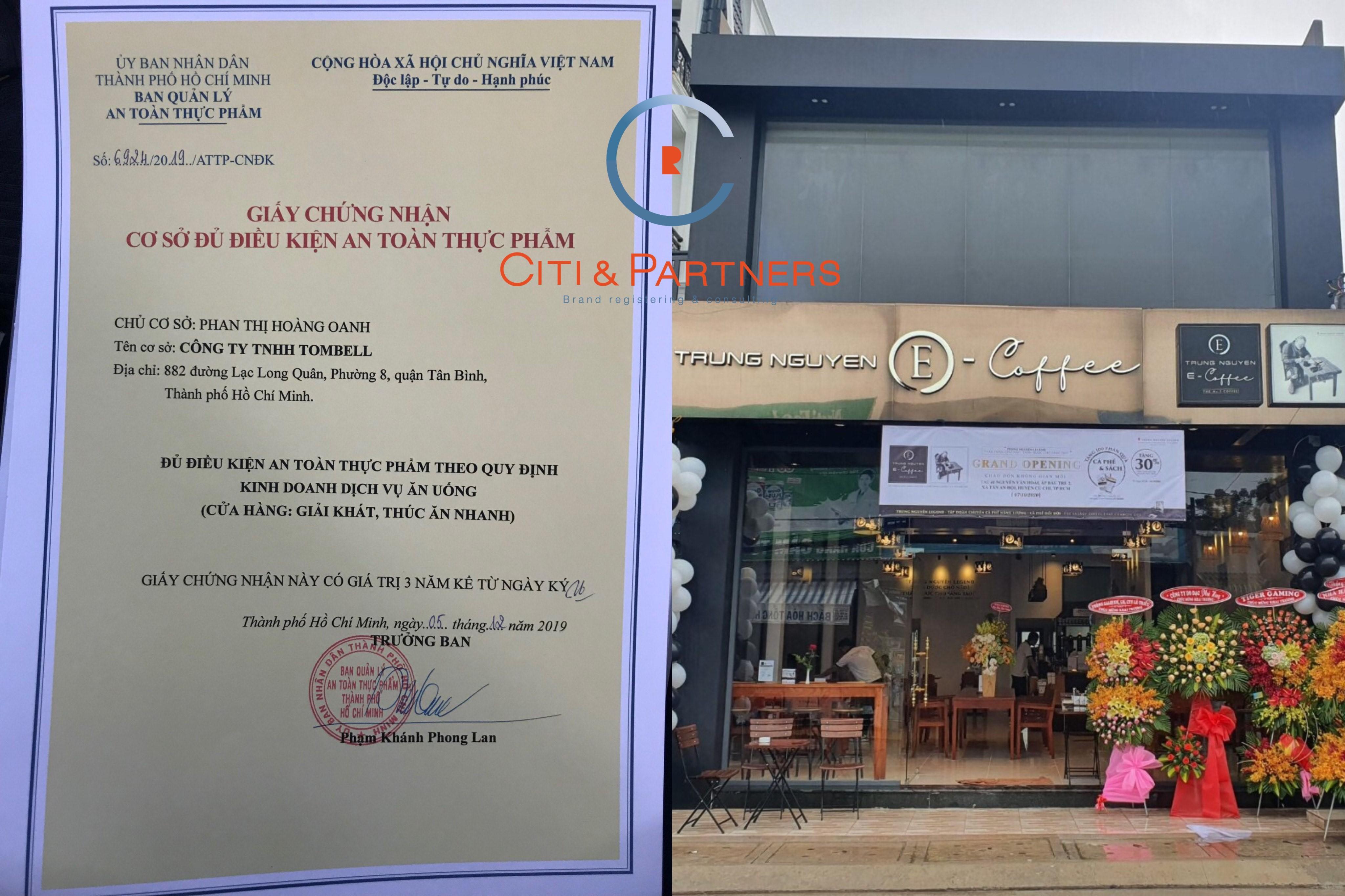 Đăng ký giấy vệ sinh an toàn thực phẩm cho thương hiệu cà phê E Cofee