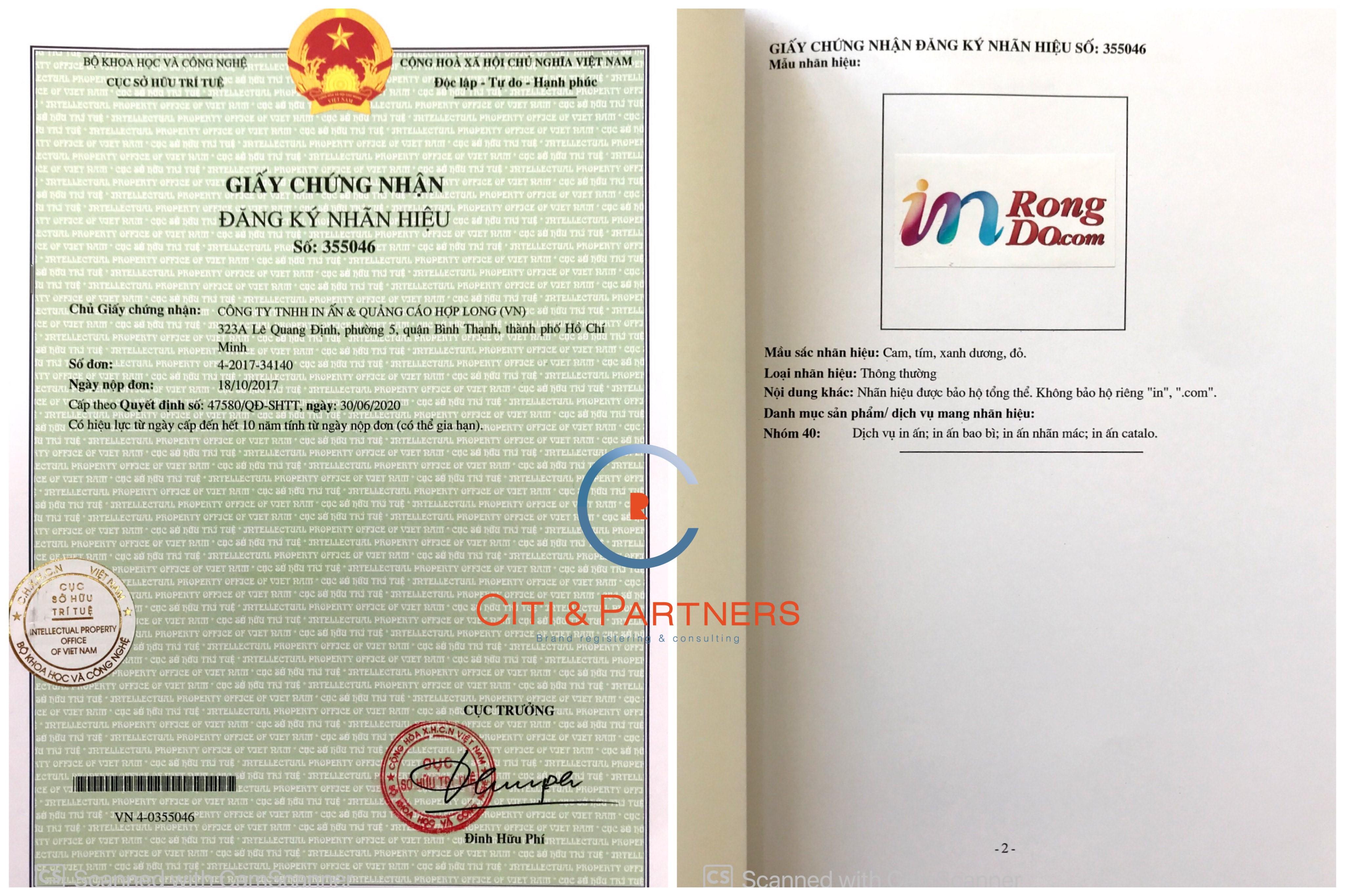 đăng ký nhãn hiệu cho công ty in ấn và quảng cáo Hợp Long